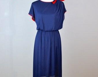 Vintage Beach Dress with Bow  |  Riviera Beach Dress  |  80s Pool Dress  |  Vintage Summer Dress