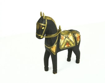 Moroccan Carved Wooden Horse with Brass & Bone Inlay, Bohemian Wood Horse