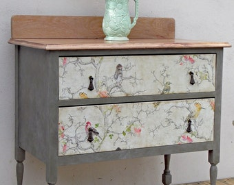 Sold - Example Piece. Vintage oak topped two drawer chest of drawers, painted furniture Annie Sloan, decoupaged, rustic