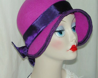 Custom Convertible handmade asymmetrical 4 in 1 cloche - Downton Abbey hat, Miss Fisher, Great Gatsby hat