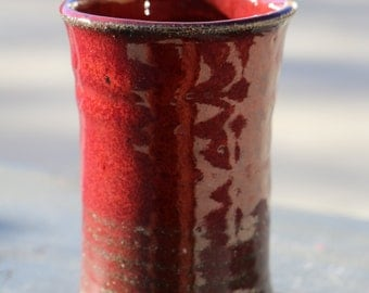 Ceramic Cup: Red Stoneware Drinking Cup