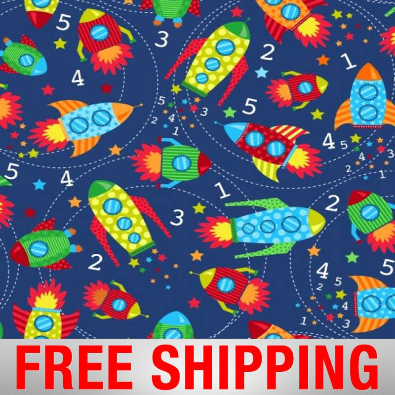 Fleece fabric rocket spaceship space 60 wide free for Space fabric by the yard