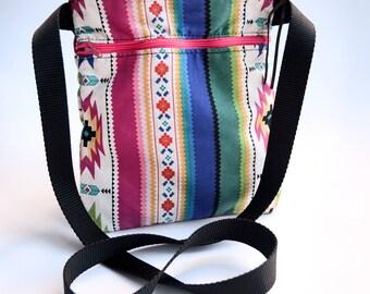 Southwest Cross Body Purse / Hobo Bag / Messenger Bag / Aztec Purse / Bright Purse / Festival Bag / Rainbow / Handmade / Gift Idea For Her
