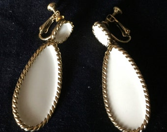 Vintage Napier Goldtone and Cream Enamel Earrings