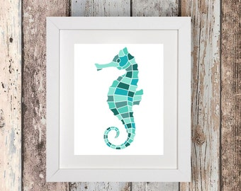 Beach Decor - Seahorse Decor - Seahorse Prints - Bathroom Wall Decor - Printable Wall Art - Ocean Print - Ocean Decor - Nautical Nursery Art