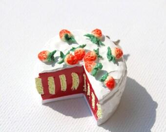 Strawberry cake, Miniature food, Food charm, Fruit charm, Food jewelry, Polymer clay charm, Kawaii cake necklace, Strawberry charm, Vertical