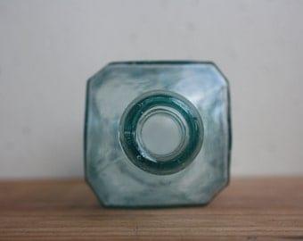 Vintage Water Glass Bottle / Vintage Square Glass Bottle / Vintage Glass Vase / Vintage Green Glass Bottle / Vintage Glass