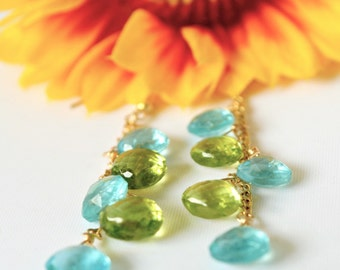 Apatite and Peridot Earrings | Blue And Green Gemstones | August Birthstone - Peridot