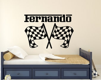 Personalized Decal Boys Name Custom Sticker Checkered Flags Racing Race Car  Wall Decor Kids Boy Nursery