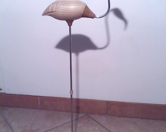 Flamingo in wood and steel