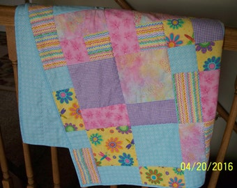Flowers & Dragonflies Baby Quilt