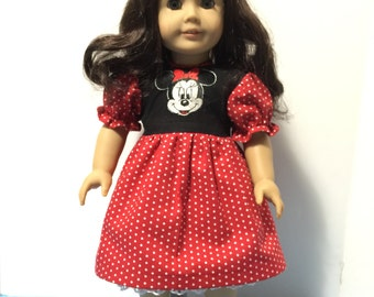 """Minnie Mouse inspired dress for 18"""" American Girl Doll"""
