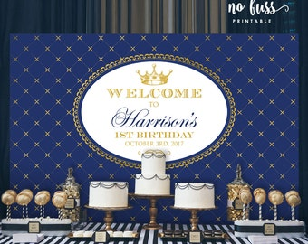 Royal Blue Prince Backdrop | Boy Party Banner | Poster | Signage | Personalised | Printable ONLY | Birthday Backdrop