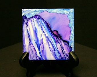 Unique gift alcohol ink Tile art Abstract art piece Desk art Office decor modern contemporary small gift for him her accent art one of kind