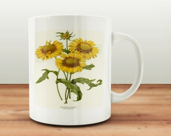 Vintage Sunflower Print Mug