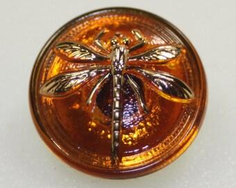 Czech Glass Amber Dragonfly Button, Small, 18mm