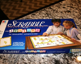 1989 Scrabble Junior Board Game//By Milton Bradley//Ages 5 and Up//2 to 4 Players//Vintage Board Game