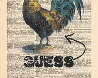 Quess What Chicken Print | Dictionary Pages | Dictionary Art Print | Dictionary Art | Funny Wall Decor | Antique Dictionary | Funny Print