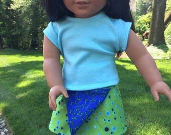 American doll clothes, Girl doll skirt, Reversible wrap skirt, 18 inch doll skirt, Two skirts in one for 18 inch dolls, wrap skirt