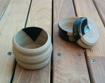 Handmade Gray clay and Black Glaze Cup & Small Box