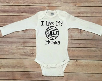 I love my mummy - mummy onesie - funny baby onesie - long sleeve onesie - halloween baby onesie - baby onesie - halloween baby costume