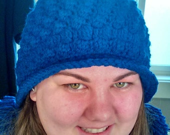 Blue Puff Stitch Beanie