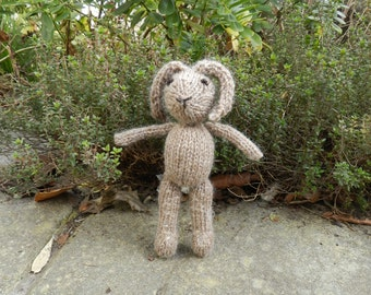 Brown Bunny - hand knitted soft toy rabbit in naturally coloured wool