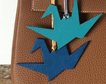 CUSTOM COLORS! Leather Origami Crane Bagcharm