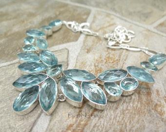 Aquamarine Quartz Sterling Silver Necklace