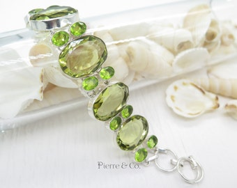 Lemon Topaz and Peridot Sterling Silver Bracelet