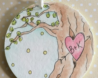 Personalized-Tree ornament-love-sitting in a tree-backyard-whimsical ornament-anniversary-wedding-new home-kids-red-carved initials-heart-
