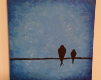 Bird on a wire painting