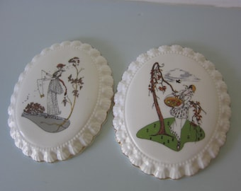 Art deco wall plaques wall hangings 1920's ladies autumn scenes in  sandringham english fine bone china