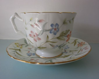 Aynsley Fine Bone China Cup and Saucer (Forever Pattern) 1986-1987