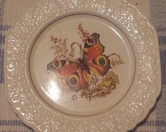 Vintage Stratford by Wood and sons Butterfly motif Decorative plate 24 cm c1970's