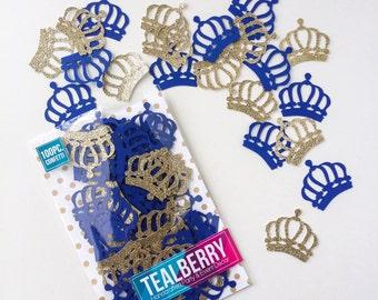 100 Piece -  Gold & Blue Crown Confetti - Table Decor - Paper Confetti -  Gold Crown Confetti- Royal Blue Crown Confetti - Ready to ship