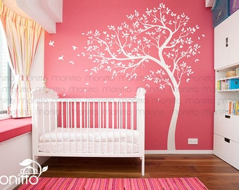 Natural Tree, Tree Decal, White Tree, Birds Wall Decals,Nursery Decal,Large Wall Decal,Kids Room,Wall Art Decor,Wall Mural Sticker [MT030]