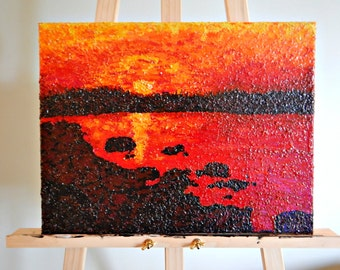 Summer sunset painting 12''x16'' -   Encaustic Painting