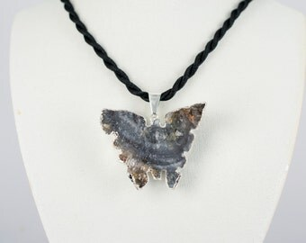 Summer Fashion!!!  Druse Chalcedony  Butterfly Pendant