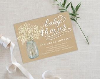 Baby Shower Invitation Template | Editable Invitation Printable | Baby Shower Invite Mason Jar | No. PY 2132