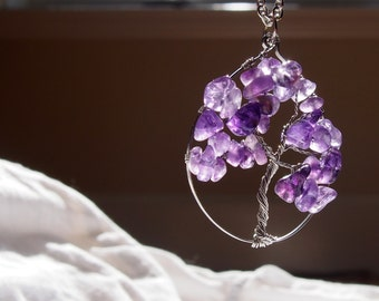 Amethyst Tree - hammered surgical steel wire wrapped pendant with chips of amethyst