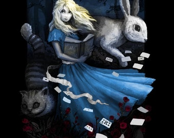 Alice in Wonderland • Adventure Girl • LADIES SLIM FIT T-Shirt • Beautiful Illustration