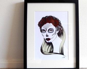 Art print Dia de los Muertos / Portrait illustration / 12 x 8.3 inch / 30 x 21 cm / A4 size