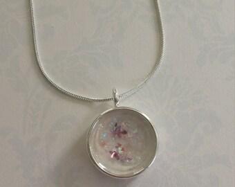 Glitter Necklace Round Open Back Bezel Resin Pendant
