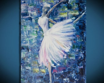 Gift for her Art paintings Ballerina art Valentines gifts Large abstract canvas painting Bedroom wall decor art Modern picture Blue art