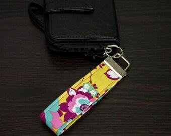 """Pink & Yellow Floral 5"""" Key Fob / Key chain / Wristlet / Lanyard"""