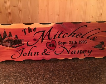 Personalized Family Last Name Sign Custom Carved Cedar Wood Plaque