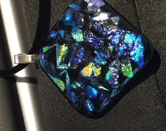 Blue Fused Dichroic Glass Pendant