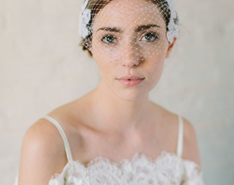 LOLA bridal birdcage veil, wedding bandeau veil with fishnet lace and faux pearls