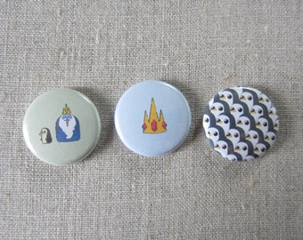 adventure time (gunter,ice king, and crown) 3 pack pinback buttons